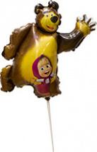 """Воздушный шарик на палочке 14""""/36см Маша и Медведь"""
