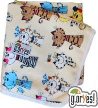 Пеленка GlorYes непромокаемая 80х68 см, коты на бежевом