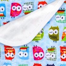 Пеленка GlorYes непромокаемая 80х68 см, совы на голубом