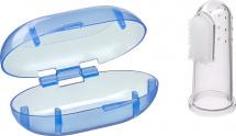 Зубная щетка Mepsi силиконовая в футляре, голубой 0+