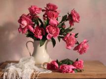 Мозаика алмазная Рыжий кот Ярко-розовые цветы 30х40 см