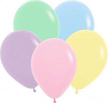 """Воздушный шарик 12""""/30см Пастель Матовый ассорти 1 шт, цвет микс"""