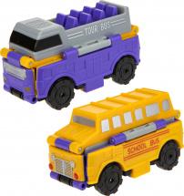 Автовывернушки 1Toy Transcar. Даблдэккер/Школьный автобус
