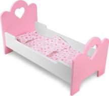 Кроватка для куклы Сердечко с постельным бельем