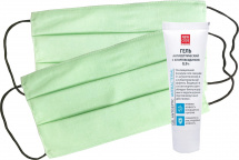 Набор гель New Code антисептический и маски защитные 2 шт, зеленый
