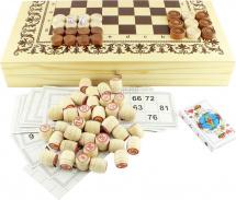 Набор 4в1 Ладья-С нарды, шашки, лото, карты