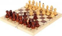 Шахматы Ладья-С обиходные деревянные лакированные фигурки с доской