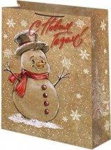 Пакет подарочный Новый год 14х20 см, снеговик