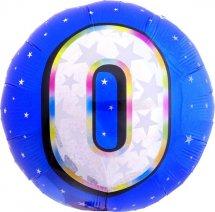 """Воздушный шарик 18""""/45см Цифра 0. Круг голубой фольгированный"""
