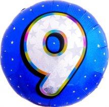"""Воздушный шарик 18""""/45см Цифра 9. Круг голубой фольгированный"""