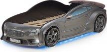 Кровать-машина EVO БМВ объемная 3d, с максимальным набором опций, графит