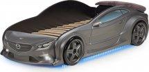 Кровать-машина EVO Мазда объемная 3d, с максимальным набором опций, графит