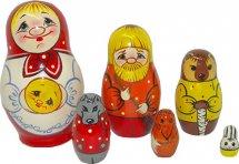 Матрешка Вятский сувенир Колобок авторская роспись 6 фигурок