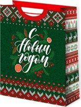 Пакет подарочный Новогодний узор 26х32 см
