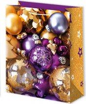 Пакет подарочный Новогодние шары 18х23 см, фиолетовый