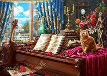 Мозаика алмазная Рыжий кот Кот на рояле 30х40 см на подрамнике