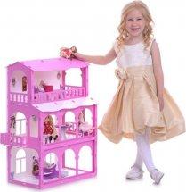 Кукольный домик Бриджит с мебелью для кукол до 16 см, бело-розовый