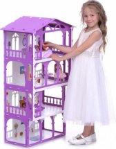 Кукольный домик Елена с мебелью для кукол до 16 см, бело-сиреневый
