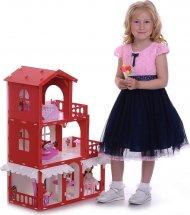 Кукольный домик Николь с мебелью для кукол до 16 см, бело-красный