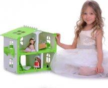 Кукольный домик Загородный дом. София с мебелью для кукол до 12 см, бело-салатовый
