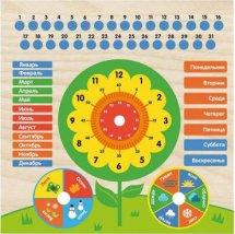 Обучающая доска Тимбергрупп Календарь с часами: Цветочек