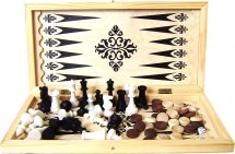 Набор 3в1 Ладья-С нарды, шашки, шахматы пластмассовые