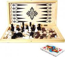 Набор 4в1 Ладья-С нарды, шашки, шахматы пластмассовые, карты
