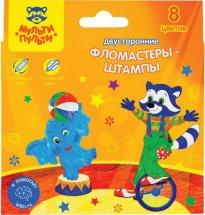 Фломастеры-штампы Мульти-Пульти Енот в цирке 8 цветов, смываемые