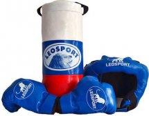 Детский боксерский набор Leosport №2, мешок 40х18 см, детские перчатки, защитный шлем
