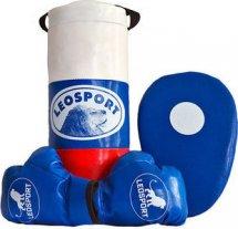 Детский боксерский набор Leosport №3, мешок 40х18 см, детские перчатки, боксерская лапа