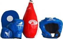 Детский боксерский набор Leosport №8, груша мешок 45х20 см, детские перчатки, защитный шлем, лапа