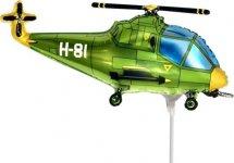 """Воздушный шарик на палочке 14""""/36см Вертолет, зеленый"""