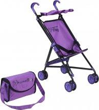 Коляска-трость для кукол Buggy Boom Mixy с сумкой и крышей для кукол до 35 см, фиолетовый