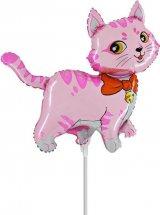 """Воздушный шарик на палочке 14""""/36см Кошечка с бантом, розовый"""