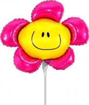 """Воздушный шарик на палочке 14""""/36см Цветок, розовый"""