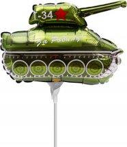 """Воздушный шарик на палочке 14""""/36см Танк Т-34"""