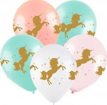 """Воздушный шарик 12""""/30см Металлик Единорог 1шт, цвет микс"""