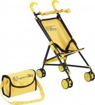 Коляска-трость для кукол Buggy Boom Mixy с сумкой и крышей для кукол до 35 см, желтый