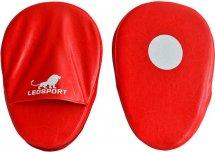 Лапы боксерские Leosport Training, пара, 21х34 см, экокожа, красный
