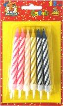 Свечи для торта Джамбо разноцветные с держателем 6 см 12 шт