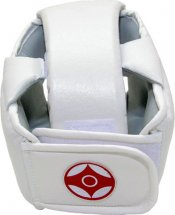 Шлем для каратэ с закрытым подбородком и верхом головы Leosport детский XS экокожа, белый