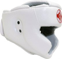 Шлем для каратэ с закрытым подбородком и верхом головы Leosport подростковый M экокожа, белый