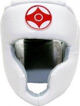 Шлем для каратэ с закрытым подбородком и верхом головы Leosport подростковый L экокожа, белый