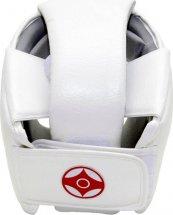 Шлем для каратэ с защитой верха головы Leosport детский XS экокожа, белый