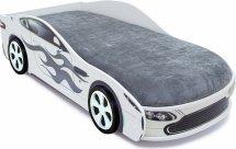 Комплект кровать-машина Бондмобиль белый и объемные пластиковые колеса 2 шт
