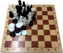 Набор 2в1 Ладья-С шахматы пластмассовые и шашки пластмассовые