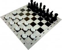 Набор шахматы и шашки Ладья-С пластмассовые и шахматная доска картон 31х31 см