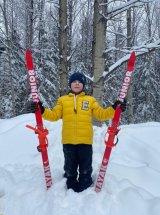 Лыжи детские Маяк деревянные 130 см, желтый/черный
