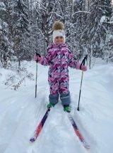 Лыжи детские Маяк деревянные 130 см, фиолетовый