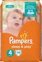 Подгузники Pampers Sleep&Play 4 (8-14 кг) 14 шт